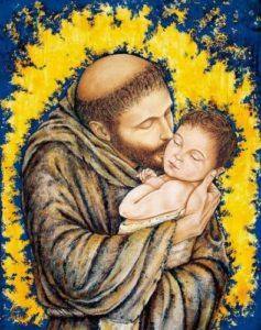 san Francesco d'Assisi bacia il bambino Gesù