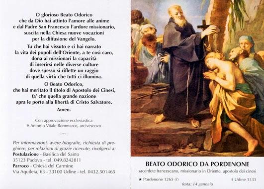 santino beato Odorico da Pordenone