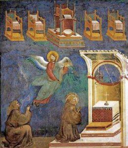 Giotto - fra Pacifico vede in cielo un trono per Francesco